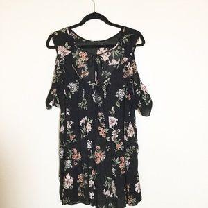 Angie Dress, Floral on Black, Hi-Lo Mini Dress. M
